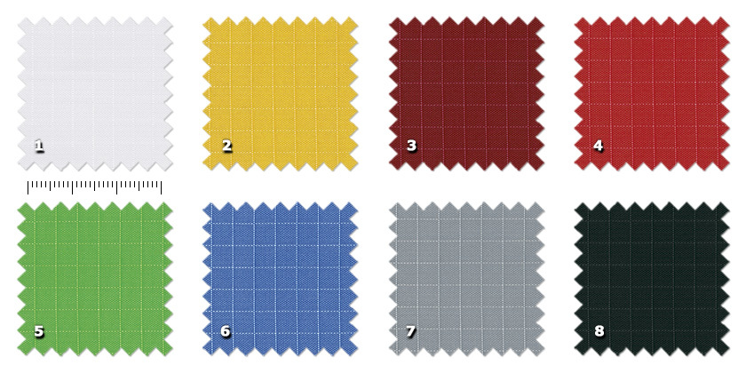ASP - Ripstop Spi1 white2 yellow3 bordeaux4 red5 green6 blue7 grey8 black