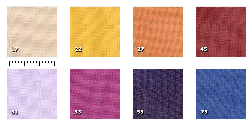 EVA300P - Aurora width 300 cm17. beige22. yellow27. orange45. red51. lilac53. cyclamen55. violet75. blue