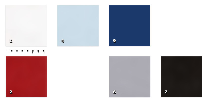 HSE140S - Tempesta Silk - Flameproof1 white (also available in NFR version)2 red4 light blue7 black8 grey9. bleu