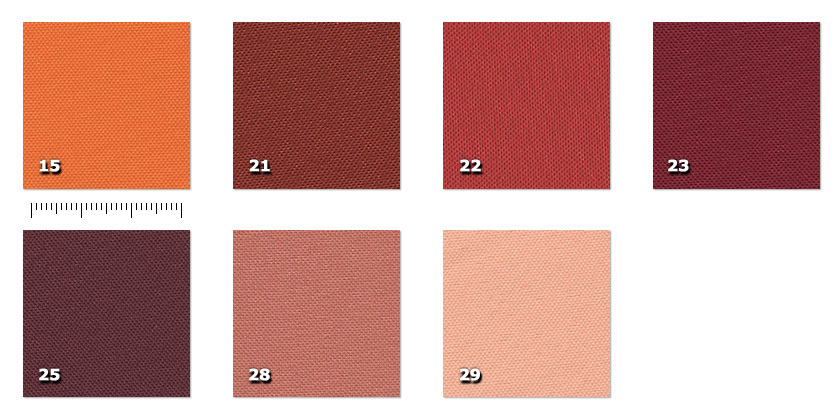 HSV - Trevi15. orange *21. brick red *22. red23. bordeaux25. plum *28. dark pink *29. pale pink ** minimum order ± 40 m
