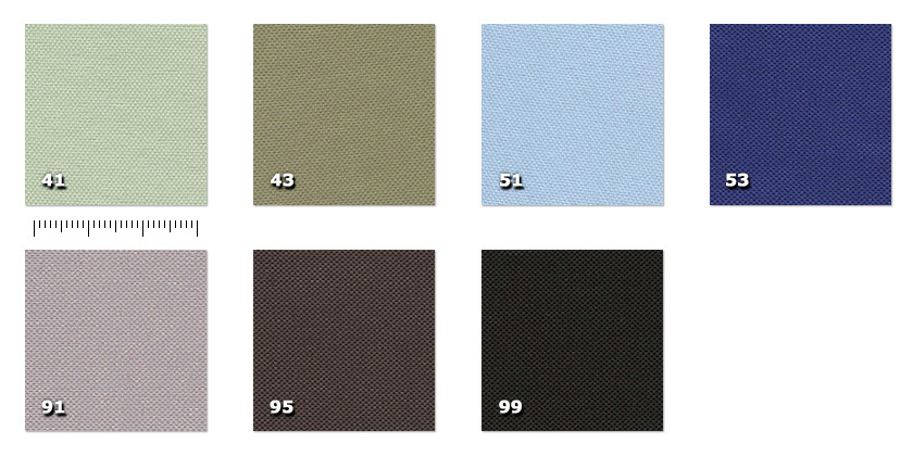HSV - Trevi41. light green *43. green51. light blue *53. blue91. light grey95. dark grey99. black* minimum order ± 40 m