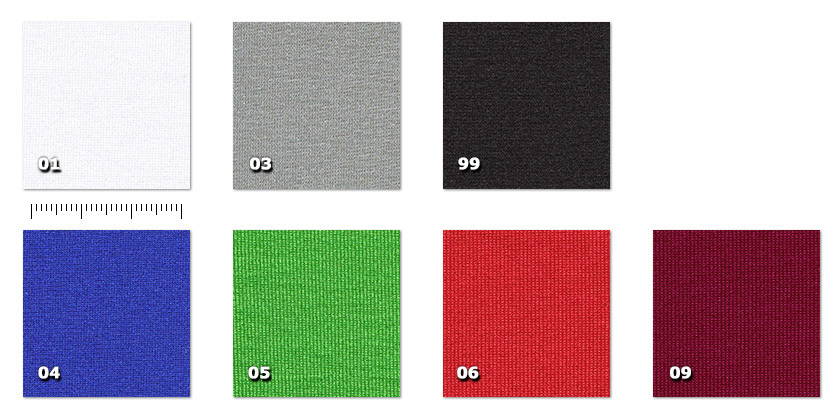 LWE200P - Windel width 200 cm01. white03. grey04. chroma key blue05. chroma key green06. red09. burgundy99. black