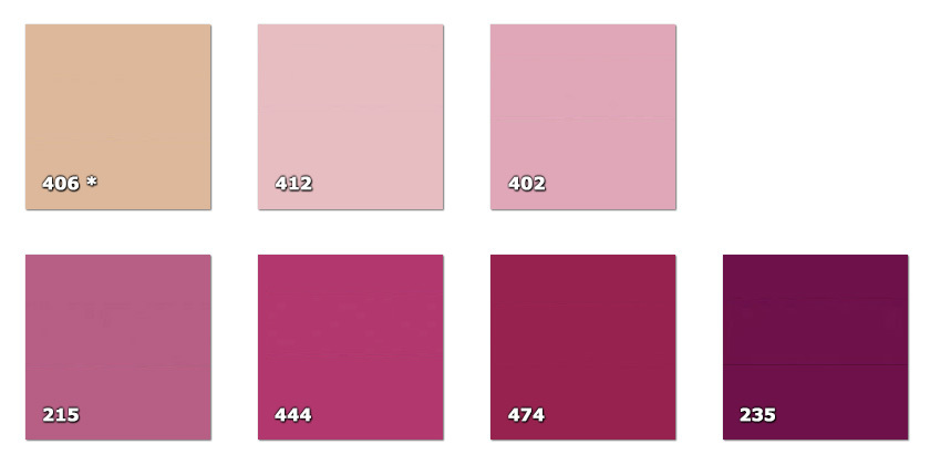 QLA130P - Laccato width 130 cm215. ancient pink235. bordeaux402. pink406. peach * (28 m)412. light pink444. dark pink474. dark pink* availability limited to the indicated quantity