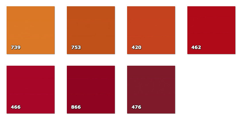 QLA130P - Laccato width 130 cm420. dark orange462. red466. red476. dark amaranth739. orange753. dark orange866. amaranth