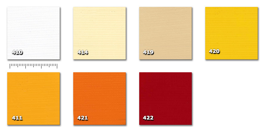 QPE - Heavy PVC410. white414. cream419. beige420. yellow411. dark yellow421. orange422. red