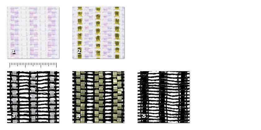 QSG - Super Glamé1 white / iridescent film2 white / iridescent + gold film3 black / silver + transparent film4 black / gold + transparent film5 black / black + transparent filmOn the right: 4 black / gold + transparent film.