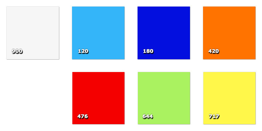 QTR - Crystalline120 bleu clair180 bleu420 orange476 rouge644 vert717 jaune900 transparente incolore
